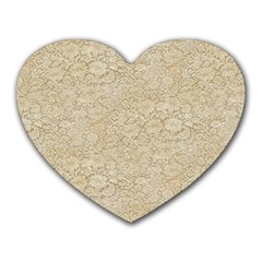 Old Floral Crochet Lace Pattern beige bleached Heart Mousepads