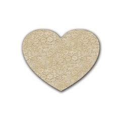 Old Floral Crochet Lace Pattern beige bleached Rubber Coaster (Heart)