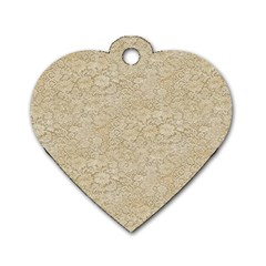 Old Floral Crochet Lace Pattern beige bleached Dog Tag Heart (Two Sides)