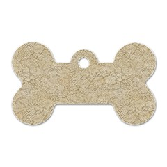 Old Floral Crochet Lace Pattern beige bleached Dog Tag Bone (One Side)