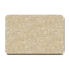 Old Floral Crochet Lace Pattern beige bleached Small Doormat