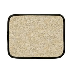 Old Floral Crochet Lace Pattern beige bleached Netbook Case (Small)