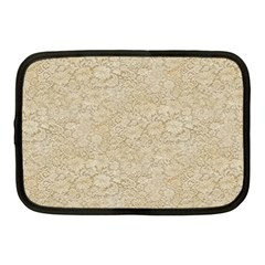 Old Floral Crochet Lace Pattern beige bleached Netbook Case (Medium)