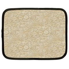 Old Floral Crochet Lace Pattern beige bleached Netbook Case (Large)