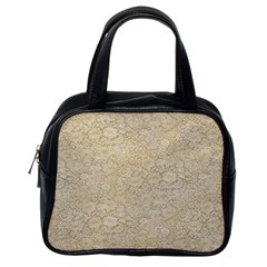 Old Floral Crochet Lace Pattern beige bleached Classic Handbags (One Side)