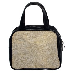 Old Floral Crochet Lace Pattern beige bleached Classic Handbags (2 Sides)