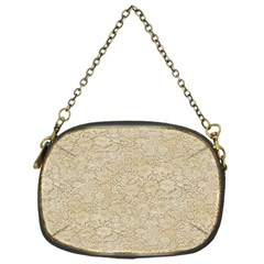 Old Floral Crochet Lace Pattern beige bleached Chain Purses (One Side)