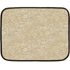 Old Floral Crochet Lace Pattern beige bleached Double Sided Fleece Blanket (Mini)