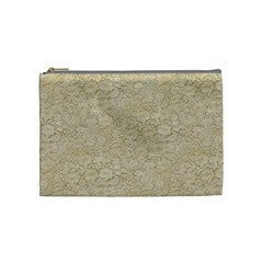Old Floral Crochet Lace Pattern beige bleached Cosmetic Bag (Medium)