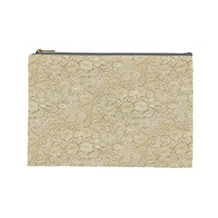 Old Floral Crochet Lace Pattern beige bleached Cosmetic Bag (Large)