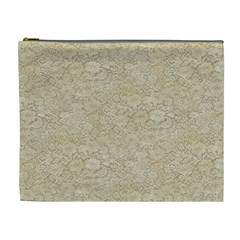 Old Floral Crochet Lace Pattern beige bleached Cosmetic Bag (XL)