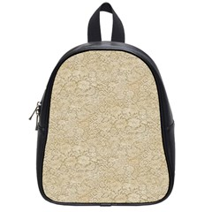 Old Floral Crochet Lace Pattern beige bleached School Bags (Small)