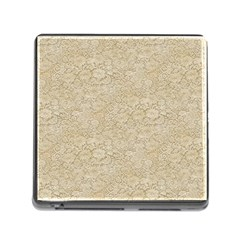 Old Floral Crochet Lace Pattern beige bleached Memory Card Reader (Square)