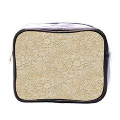 Old Floral Crochet Lace Pattern beige bleached Mini Toiletries Bags