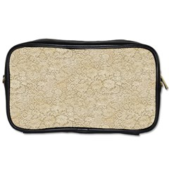 Old Floral Crochet Lace Pattern beige bleached Toiletries Bags 2-Side