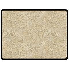 Old Floral Crochet Lace Pattern beige bleached Fleece Blanket (Large)