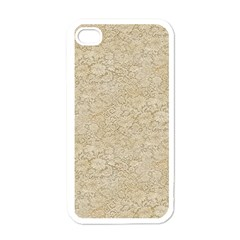 Old Floral Crochet Lace Pattern beige bleached Apple iPhone 4 Case (White)