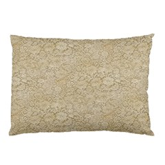 Old Floral Crochet Lace Pattern beige bleached Pillow Case (Two Sides)