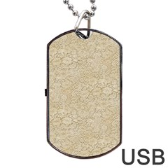 Old Floral Crochet Lace Pattern beige bleached Dog Tag USB Flash (One Side)