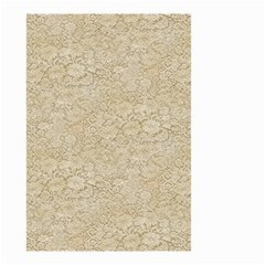 Old Floral Crochet Lace Pattern beige bleached Small Garden Flag (Two Sides)