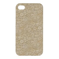 Old Floral Crochet Lace Pattern beige bleached Apple iPhone 4/4S Premium Hardshell Case