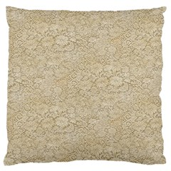 Old Floral Crochet Lace Pattern beige bleached Large Cushion Case (One Side)