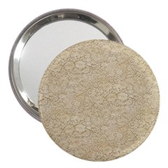 Old Floral Crochet Lace Pattern beige bleached 3  Handbag Mirrors