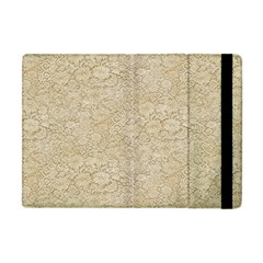 Old Floral Crochet Lace Pattern beige bleached Apple iPad Mini Flip Case