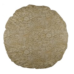 Old Floral Crochet Lace Pattern beige bleached Large 18  Premium Round Cushions