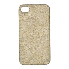 Old Floral Crochet Lace Pattern beige bleached Apple iPhone 4/4S Hardshell Case with Stand