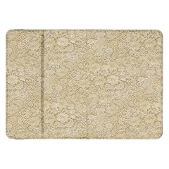 Old Floral Crochet Lace Pattern beige bleached Samsung Galaxy Tab 8.9  P7300 Flip Case