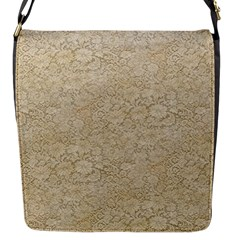 Old Floral Crochet Lace Pattern beige bleached Flap Messenger Bag (S)
