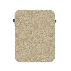 Old Floral Crochet Lace Pattern beige bleached Apple iPad 2/3/4 Protective Soft Cases