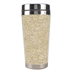 Old Floral Crochet Lace Pattern beige bleached Stainless Steel Travel Tumblers