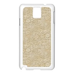 Old Floral Crochet Lace Pattern beige bleached Samsung Galaxy Note 3 N9005 Case (White)