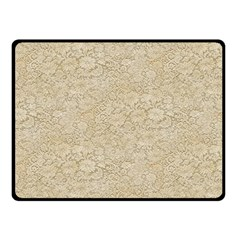 Old Floral Crochet Lace Pattern beige bleached Double Sided Fleece Blanket (Small)