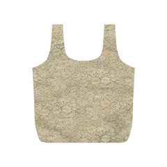 Old Floral Crochet Lace Pattern beige bleached Full Print Recycle Bags (S)