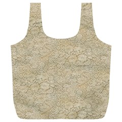 Old Floral Crochet Lace Pattern beige bleached Full Print Recycle Bags (L)