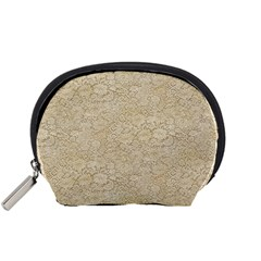 Old Floral Crochet Lace Pattern beige bleached Accessory Pouches (Small)
