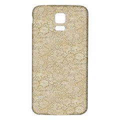 Old Floral Crochet Lace Pattern beige bleached Samsung Galaxy S5 Back Case (White)