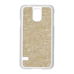 Old Floral Crochet Lace Pattern beige bleached Samsung Galaxy S5 Case (White)