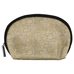 Old Floral Crochet Lace Pattern beige bleached Accessory Pouches (Large)