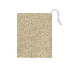 Old Floral Crochet Lace Pattern beige bleached Drawstring Pouches (Medium)