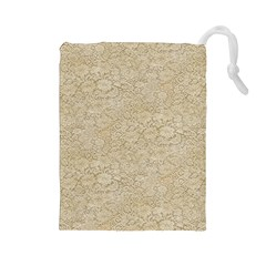 Old Floral Crochet Lace Pattern beige bleached Drawstring Pouches (Large)