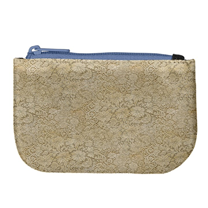 Old Floral Crochet Lace Pattern beige bleached Large Coin Purse