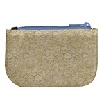 Old Floral Crochet Lace Pattern beige bleached Large Coin Purse Back