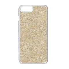 Old Floral Crochet Lace Pattern Beige Bleached Apple Iphone 7 Plus White Seamless Case
