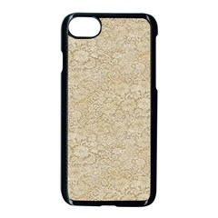 Old Floral Crochet Lace Pattern Beige Bleached Apple Iphone 7 Seamless Case (black)