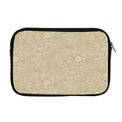 Old Floral Crochet Lace Pattern Beige Bleached Apple Macbook Pro 17  Zipper Case