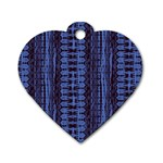 Wrinkly Batik Pattern   Blue Black Dog Tag Heart (One Side) Front